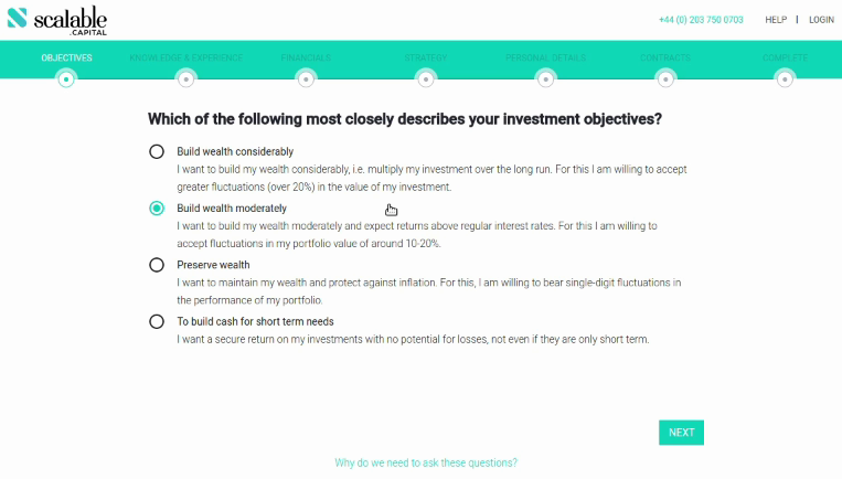 Scalable Capital Investment Objectives