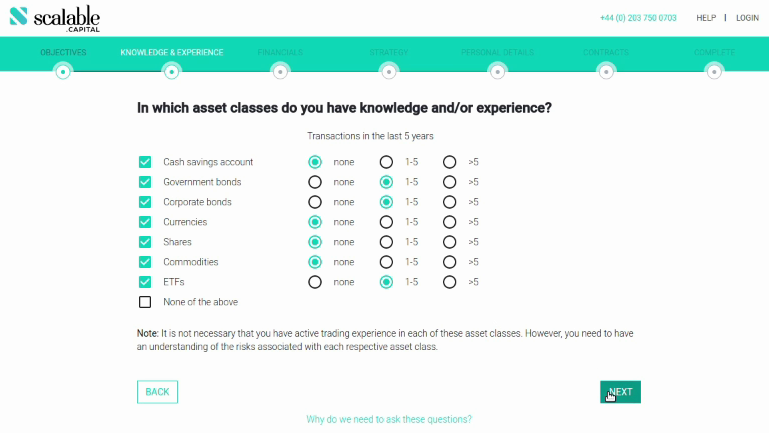 Scalable Capital In which asset classes do you have knowledge/experience?