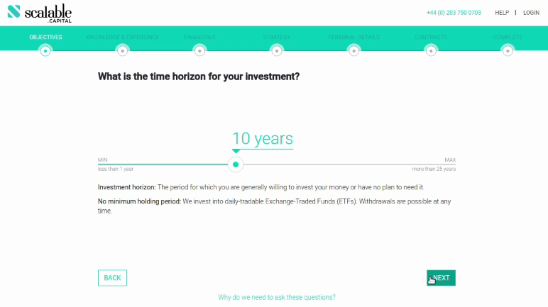 Scalable Capital what is the time horizon for your investment?