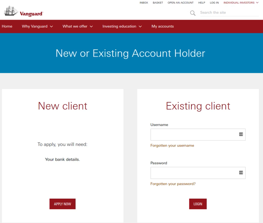 Vanguard ISA New Account