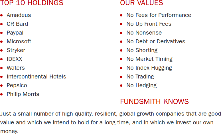 Fundsmith Top 10 Holdings and Values