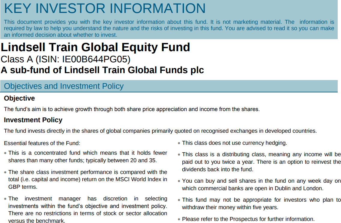Lindsell Train A KIID Investment Policy