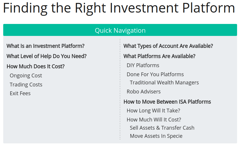 Finding the Right Investment Platform Contents