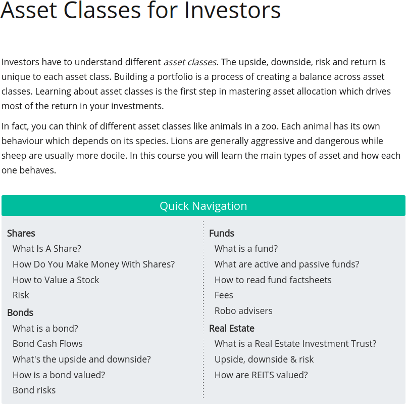 Asset Classes for Investors Table of Contents