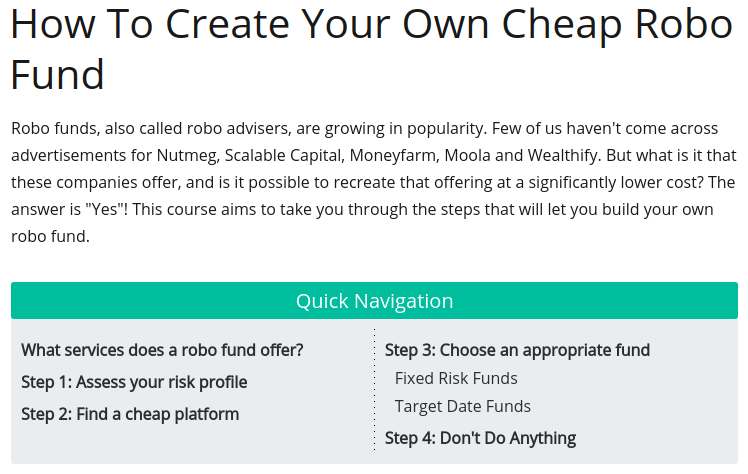 How To Create Your Own Cheap Robo Fund Table Of Contents