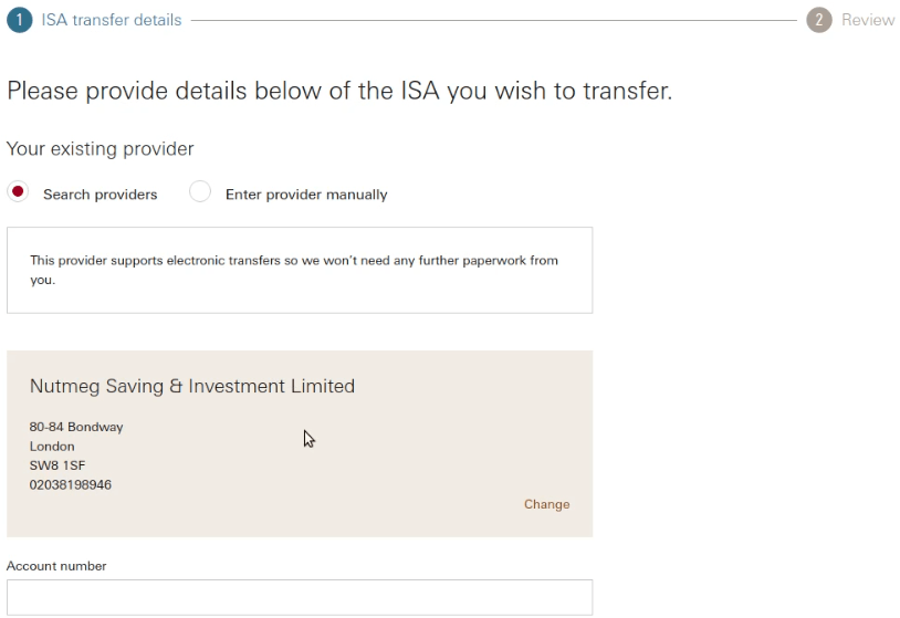 Vanguard ISA Transfer Source Account