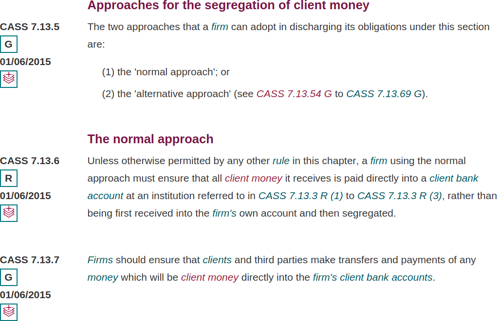 FCA Separation of Client Money