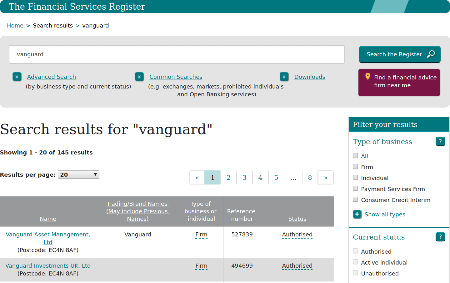 Vanguard FCA Register Search