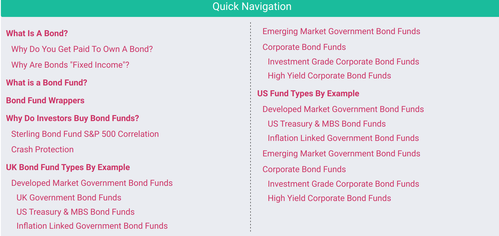 Picture of contents of bond fund course